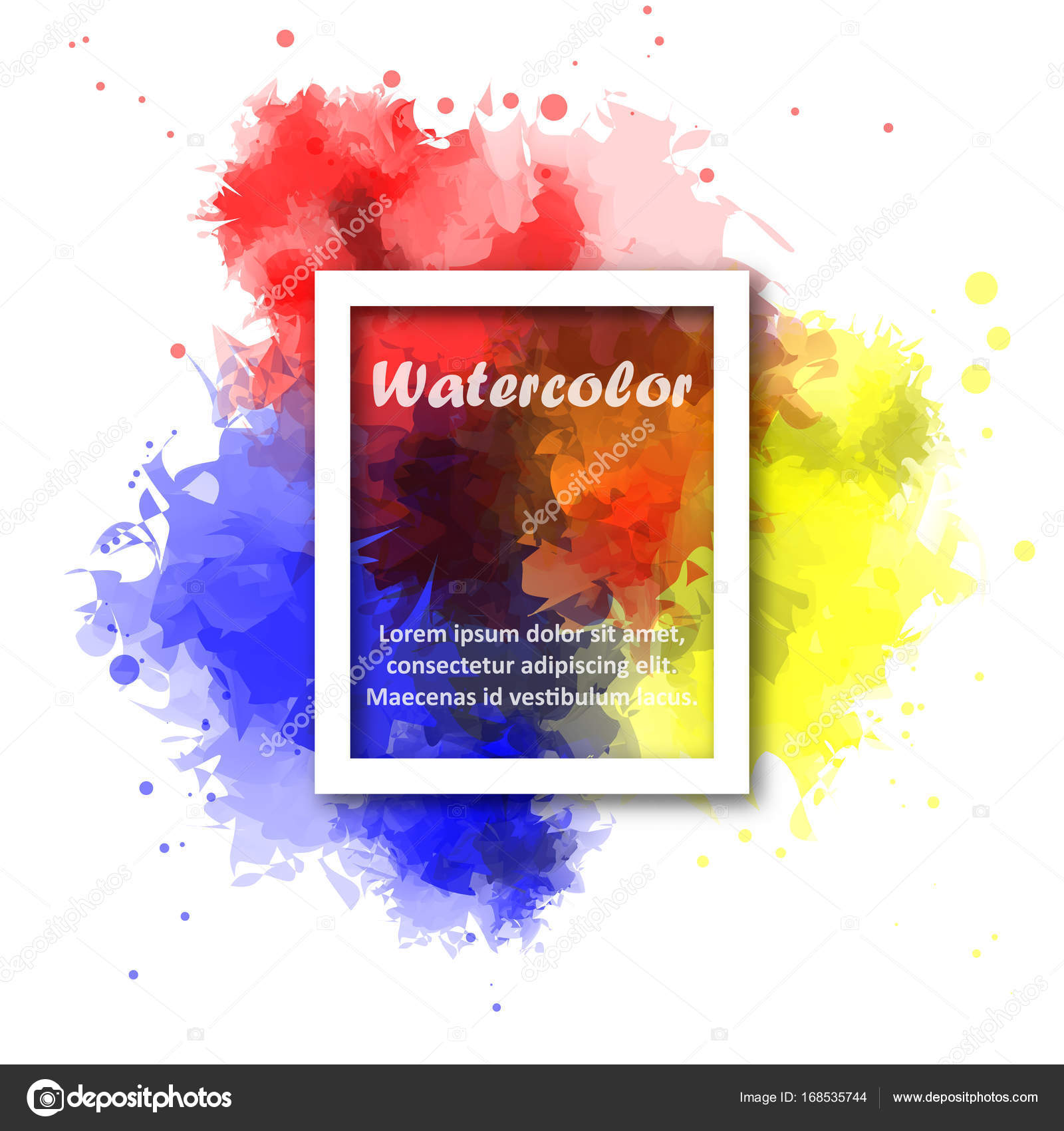 Abstract Red Yellow And Blue Watercolor Background With