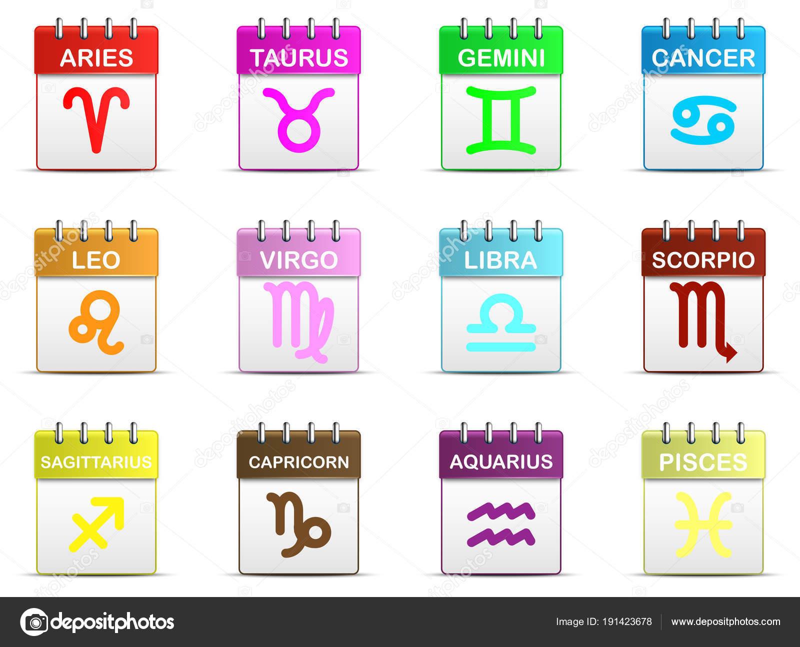 Calendario Zodiaco.Strappo Colorato Calendario Con Icona Simbolo Del Segno
