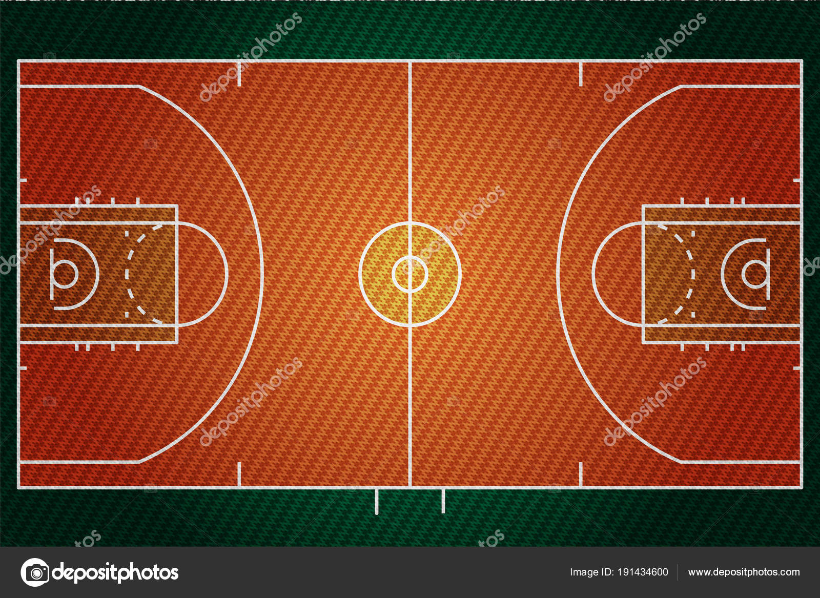 Realistic Embroidered Patch Work Texture Baseketball Court Field Element  Vector — Stock Vector