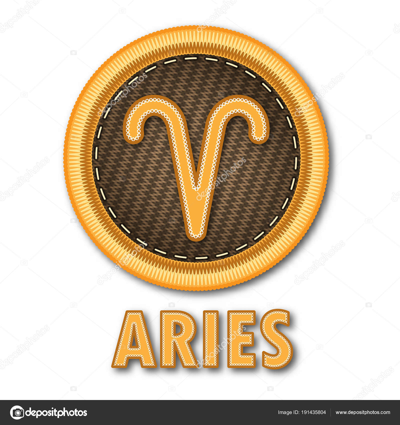 Embroidered Patch Work Aries Zodiac Sign Symbol Icon Vector Graphic — Stock  Vector