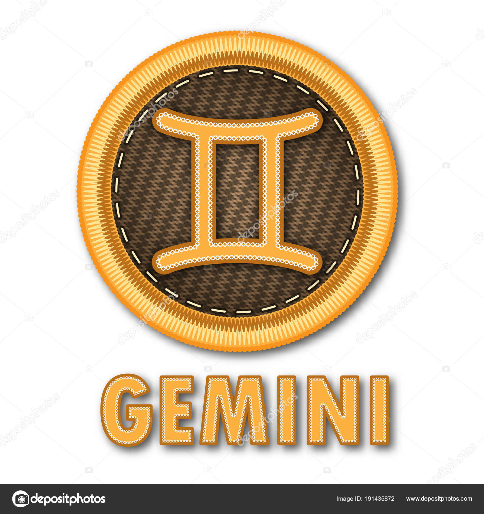 Embroidered Patch Work Gemini Zodiac Sign Symbol Icon Vector Graphic — Stock  Vector