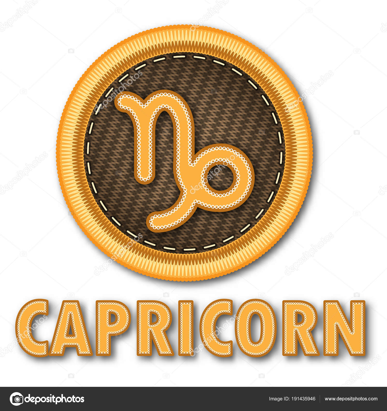 Embroidered Patch Work Capricorn Zodiac Sign Symbol Icon Vector Graphic —  Stock Vector