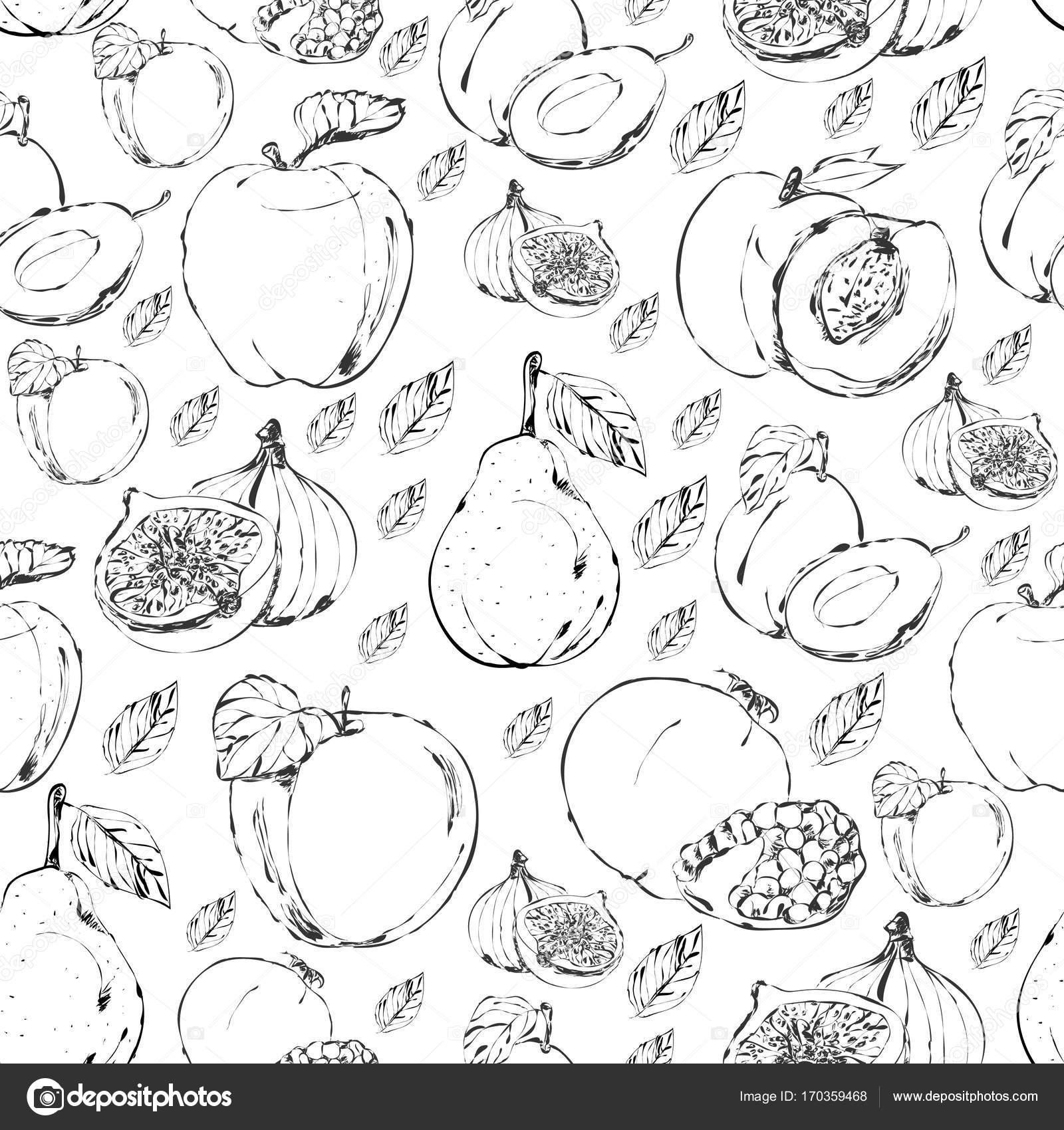 Früchte Die Nahtloses Muster Zeichnen Stockvektor Indie 170359468