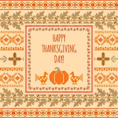 Thanksgiving day embroudered background
