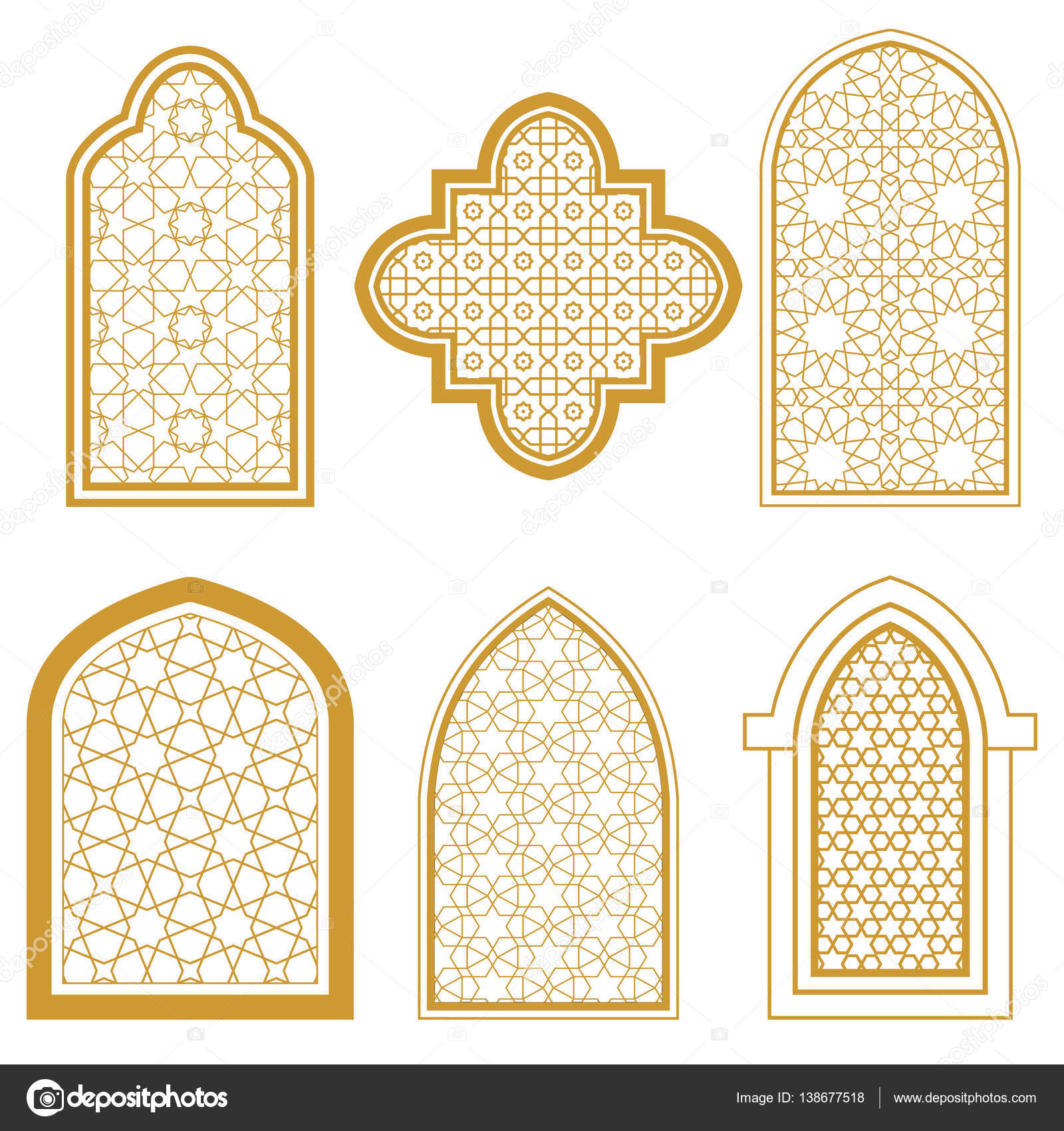 Set of islamic window stock vector irmairma 138677518 for Window design clipart