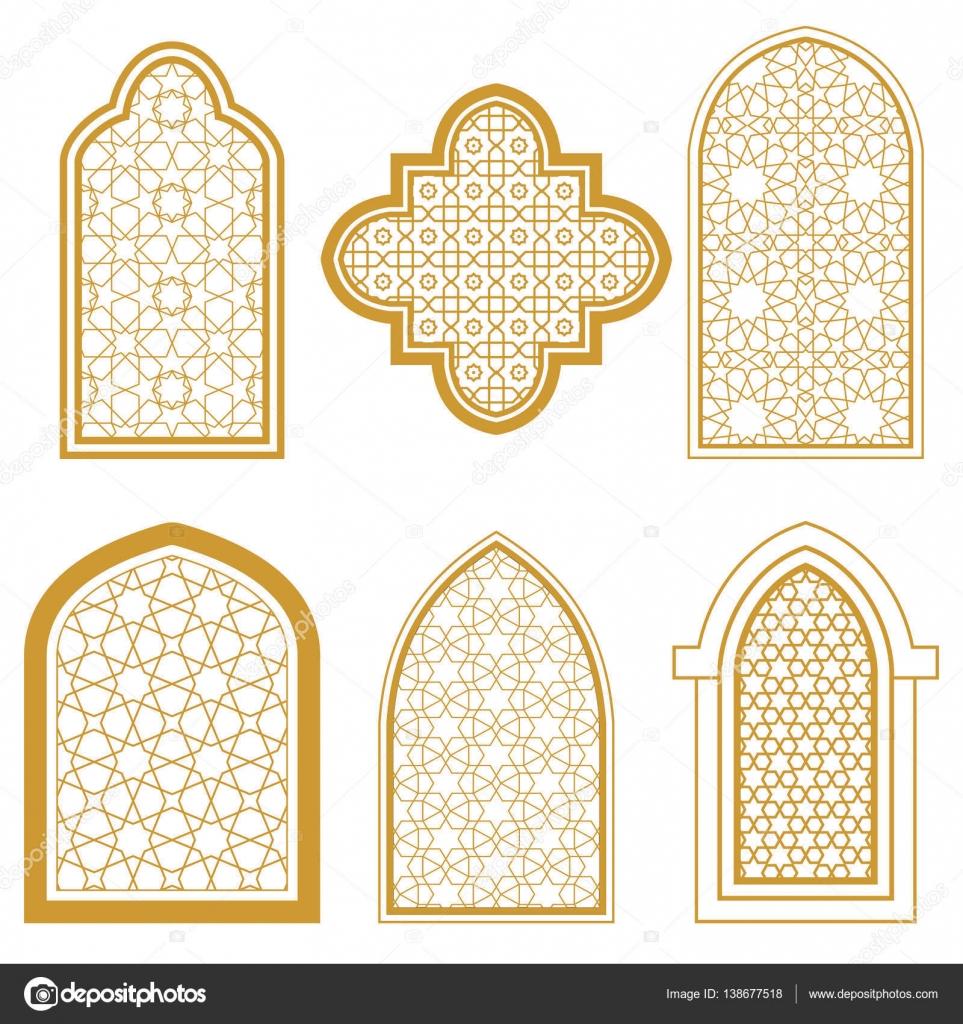 Set of islamic window stock vector irmairma 138677518 for Window design vector