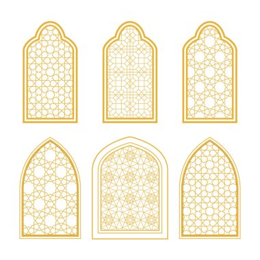 Set of ornamental windows in arabic style