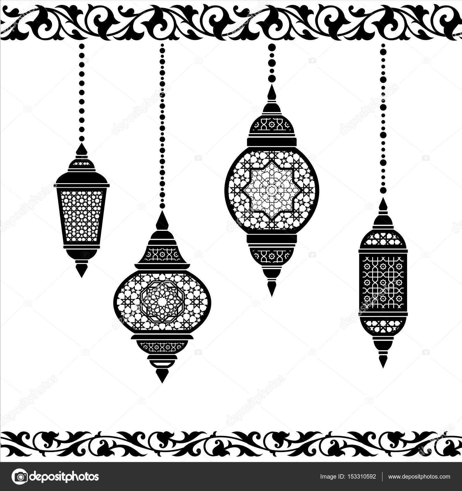 Ramazan Fener Siyah Beyaz Stok Vektör Irmairma 153310592