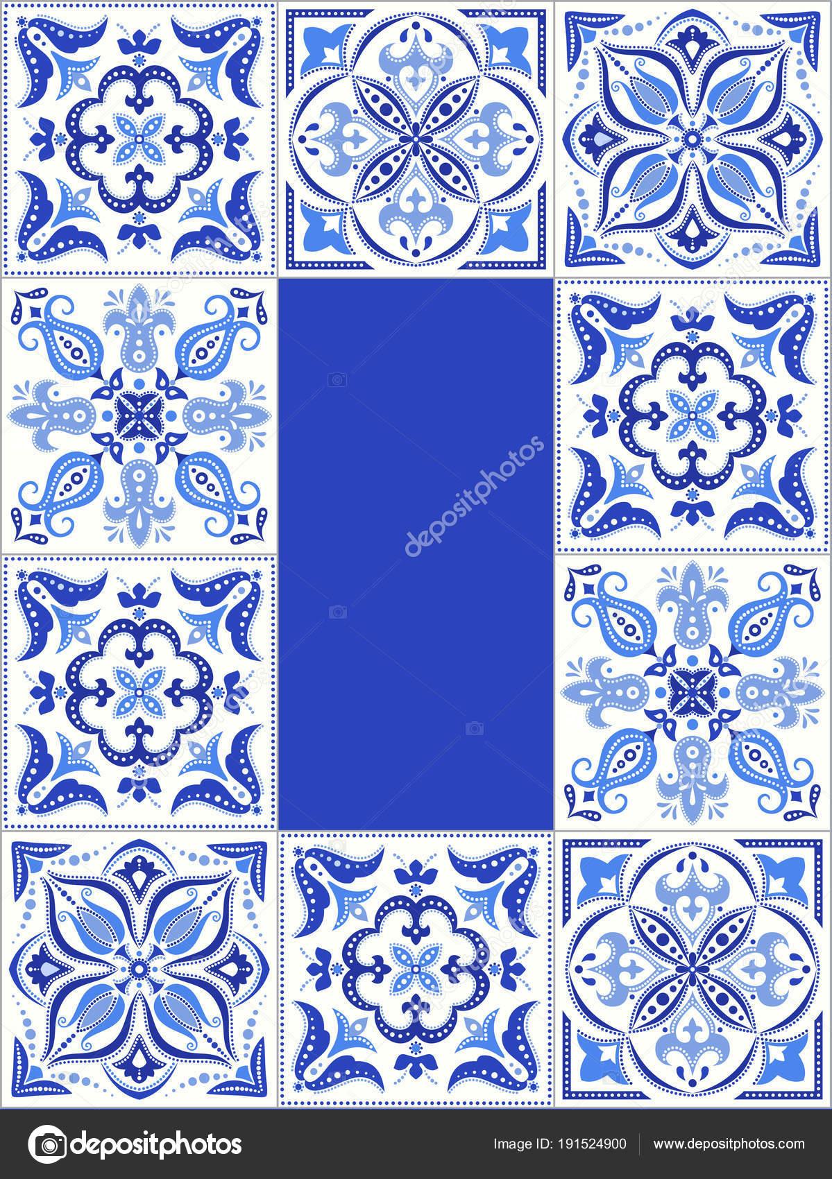 Blaue Fliesen Muster Rahmen — Stockvektor © Irmairma #191524900