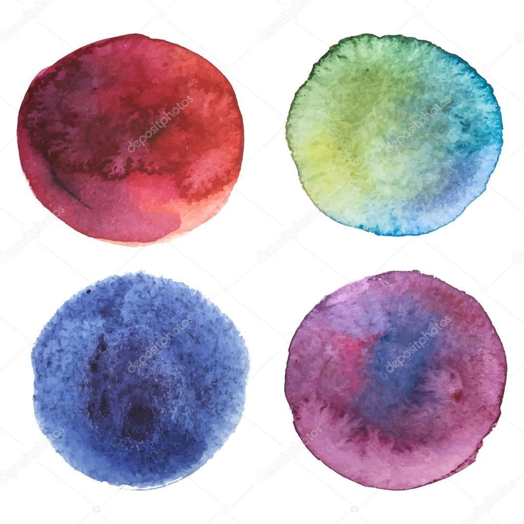 다채로운 수채화 물감 페인트 얼룩 집합, 벡터 일러스트 레이 ...