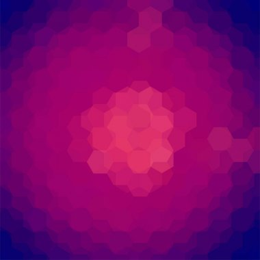 Background made of pink, purple, blue hexagons. Square composition with geometric shapes. Eps 10