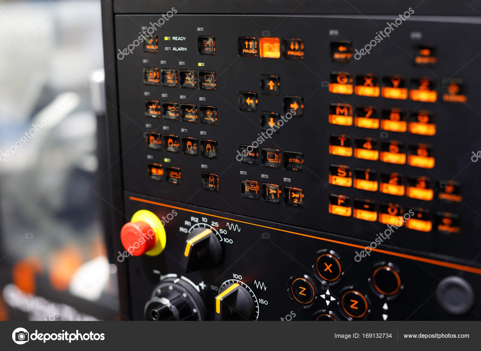 backlit buttons on the CNC control panel — Stock Photo © genkur ...