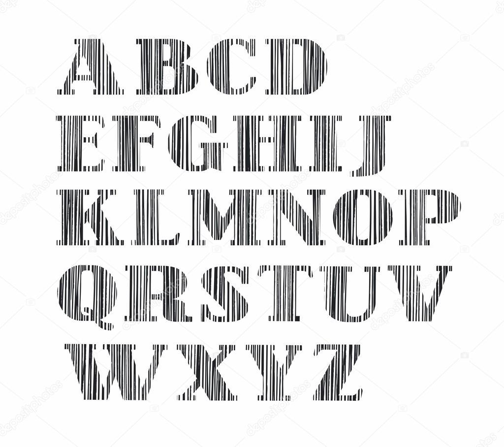 Souvent alphabet, lettre majuscule, crayon ombrage vertical, simulation  LJ95