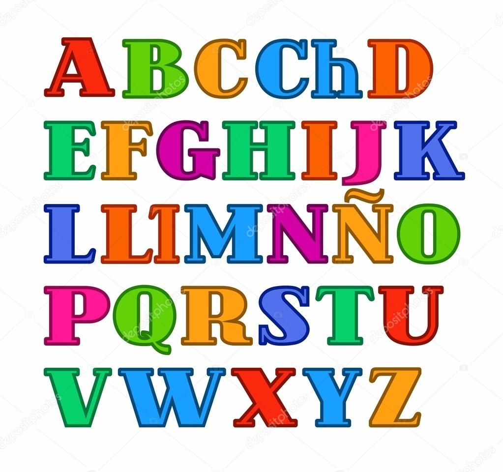 Spanish Alphabet Uppercase Colored Letters With The Contour Vector