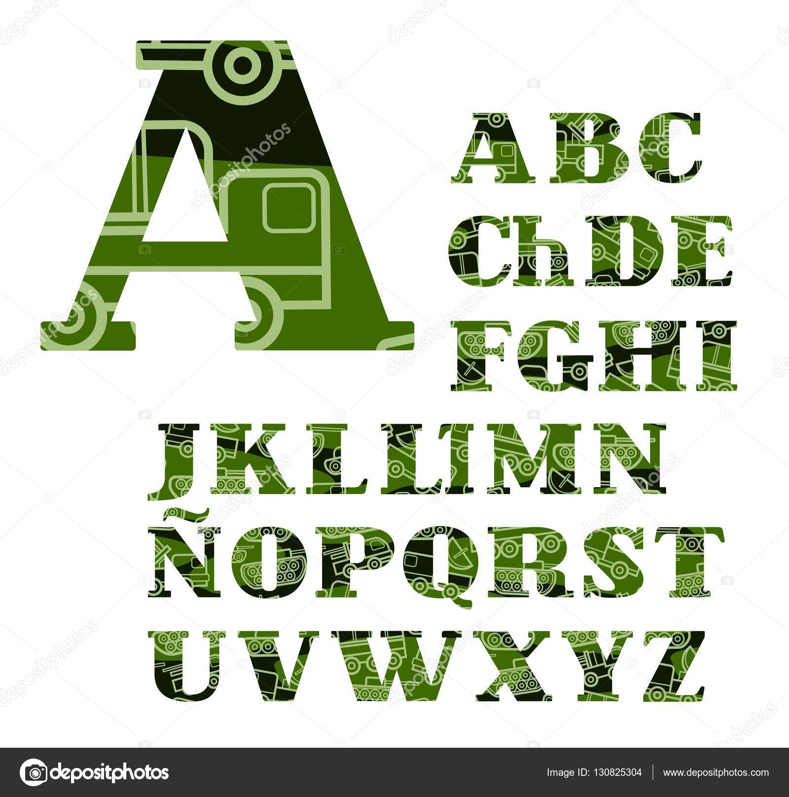 Spanish alphabet, military equipment, uppercase, vector, font, color ...