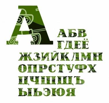 Russian alphabet, military equipment, uppercase, vector, font, color.