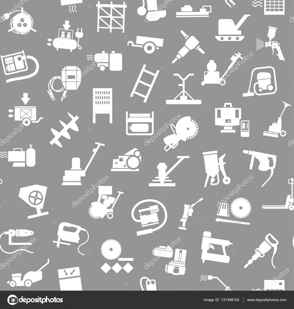Construction Equipment And Tools Seamless Background Grey Stock Vector