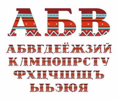 Russian alphabet, capital letters, folk decor, vector, red.