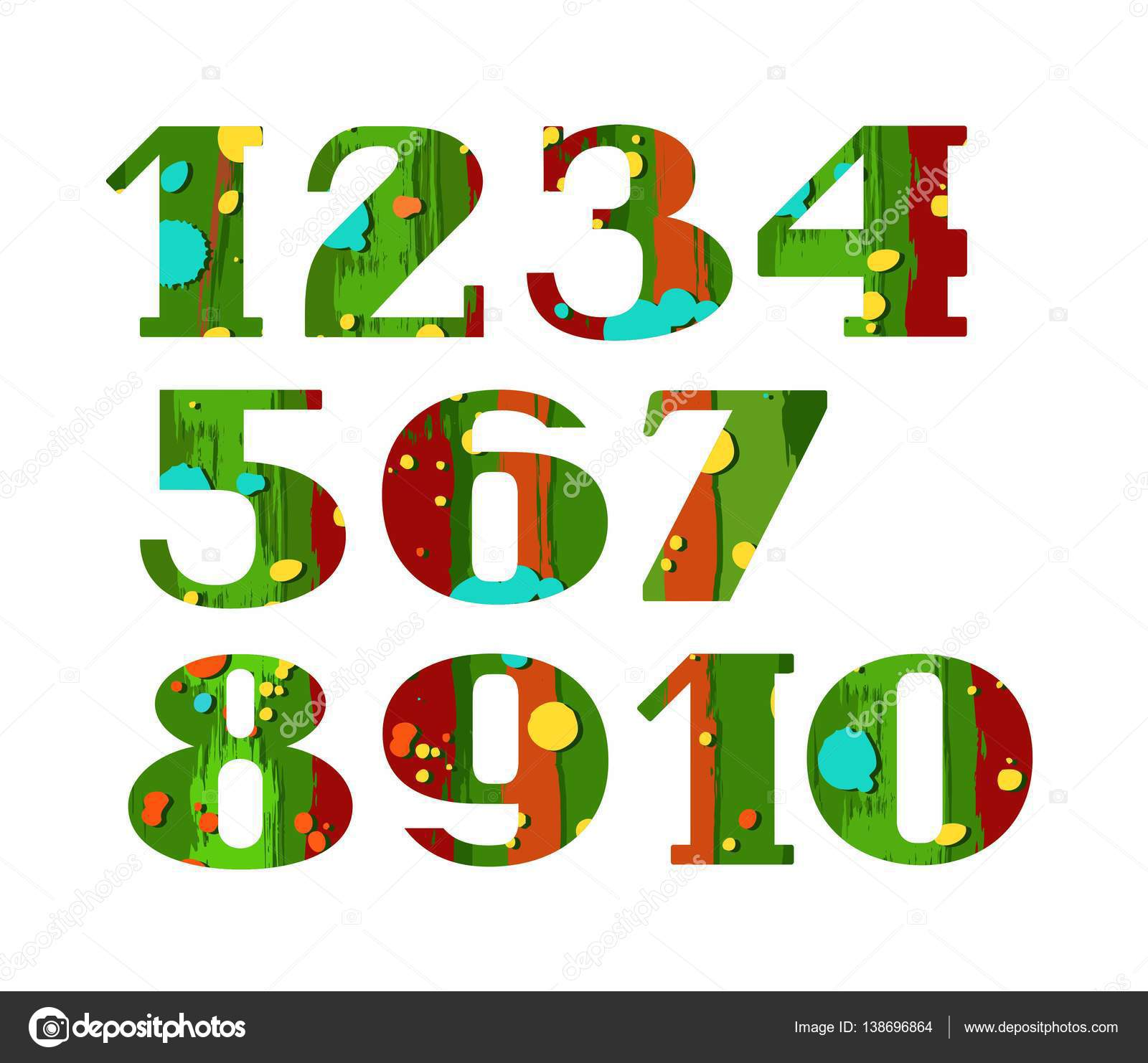 Numbers, color, paint and stain, vector. — Stock Vector ...
