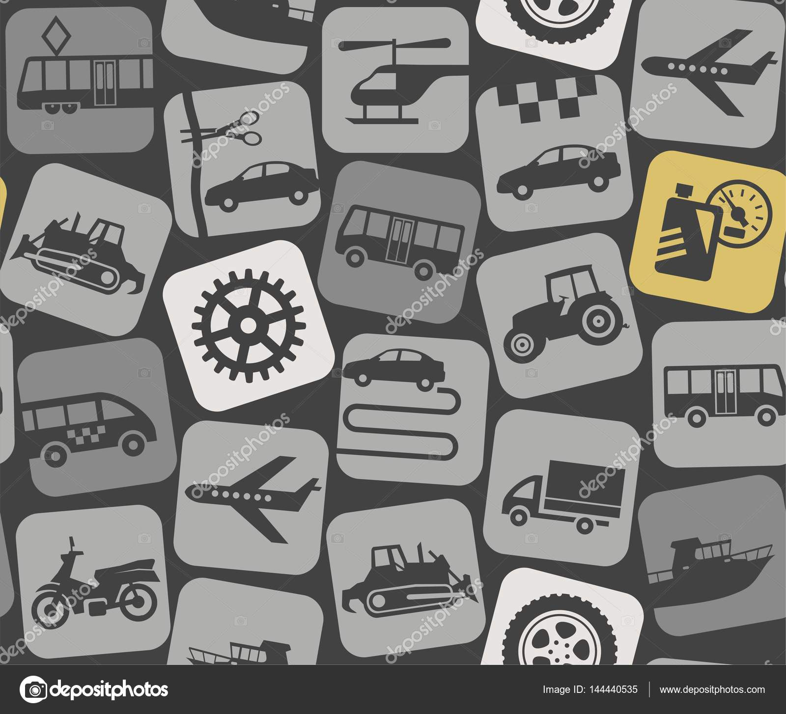 Auto parts and vehicles, grey background, seamless. — Stock Vector ...