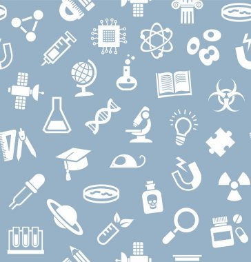 Science, background, seamless, gray-blue, vector.