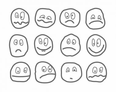 Memes, emotions, vector icons, round.