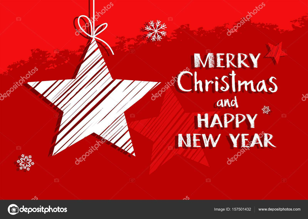 Weihnachtskarte mit Stern, rot, Vektor — Stockvektor © elenavdovina ...