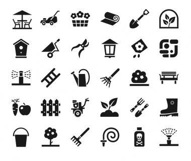 Landscape design, icons, monochrome, vector.