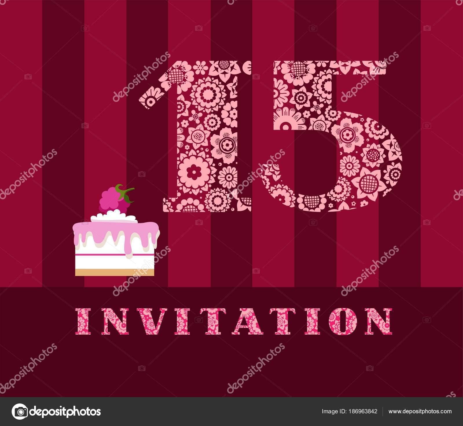 Invitation Years Cake Color Vector Invitation Birthday Party Wedding ...