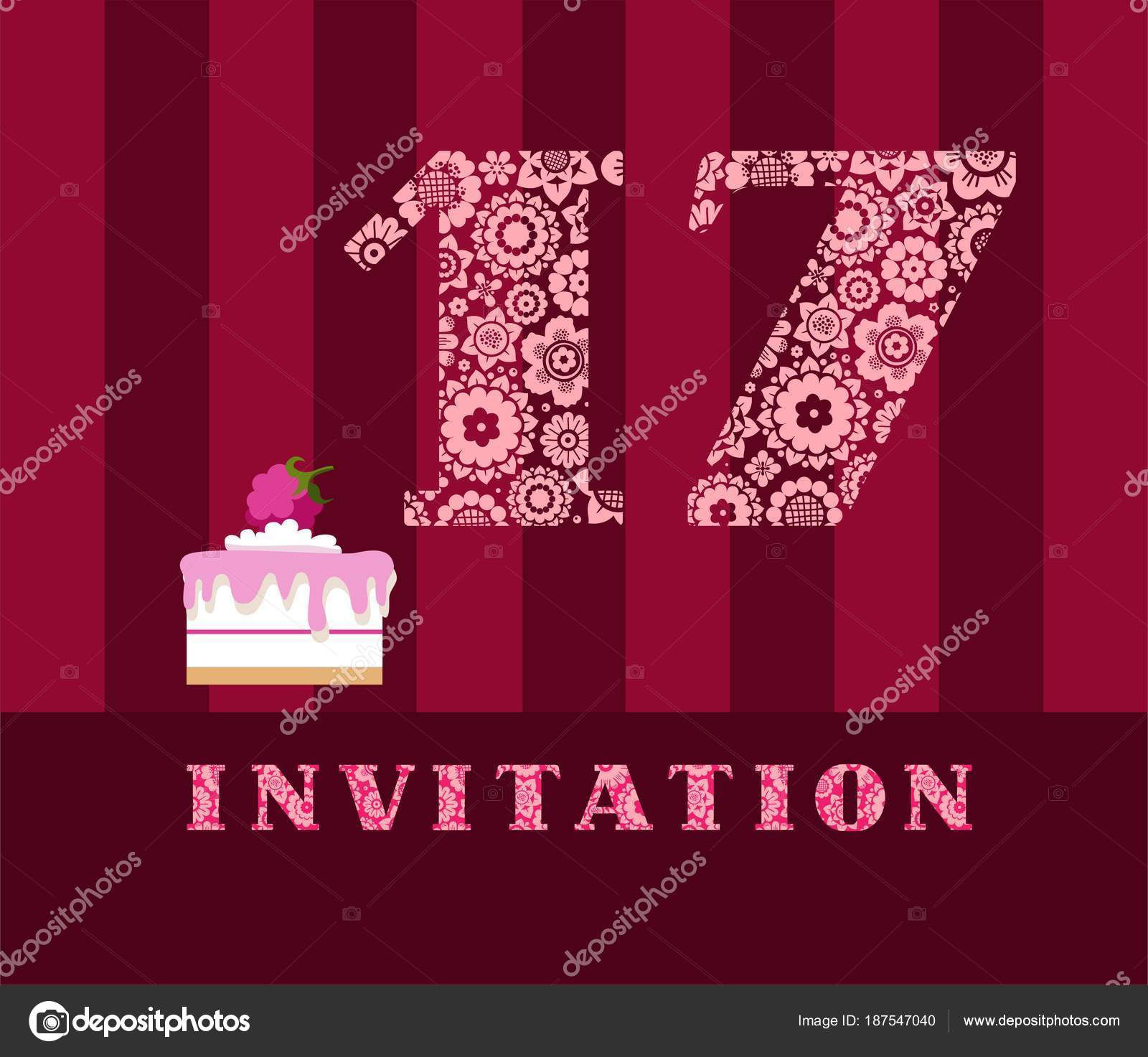 Invitation Years Cake Color Vector Invitation Birthday Party Wedding ...