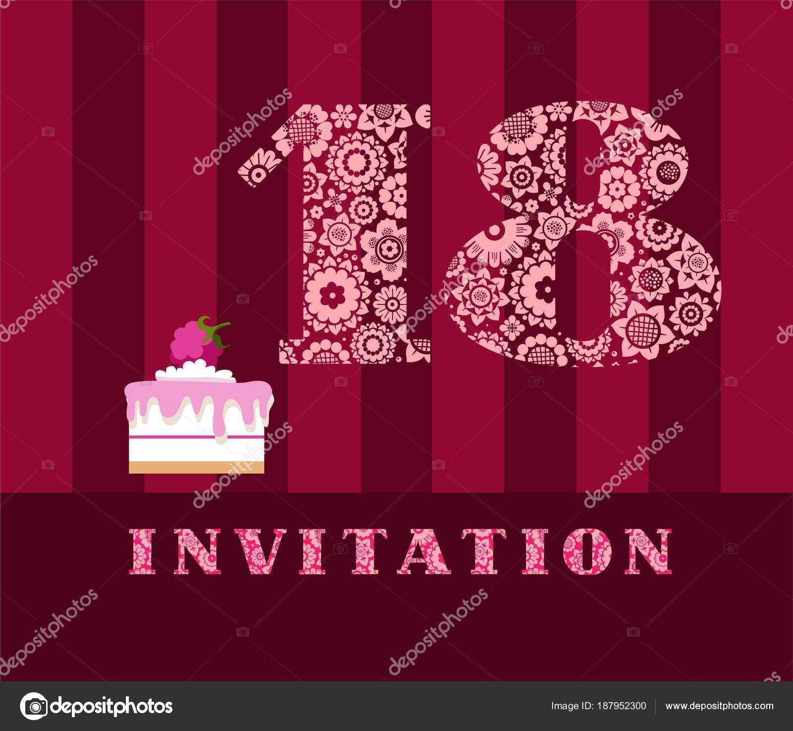 Invitation 18 Years Old Cake Color Vector The To Birthday Party Wedding Anniversary Card With Raspberries