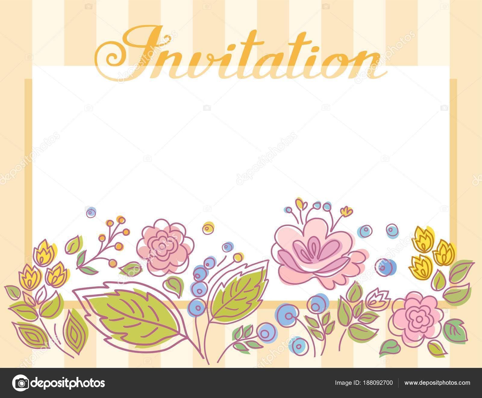 Einladung Rahmen Mit Blumen Gelbe Streifen Vektor Gelb Gestreifte ...