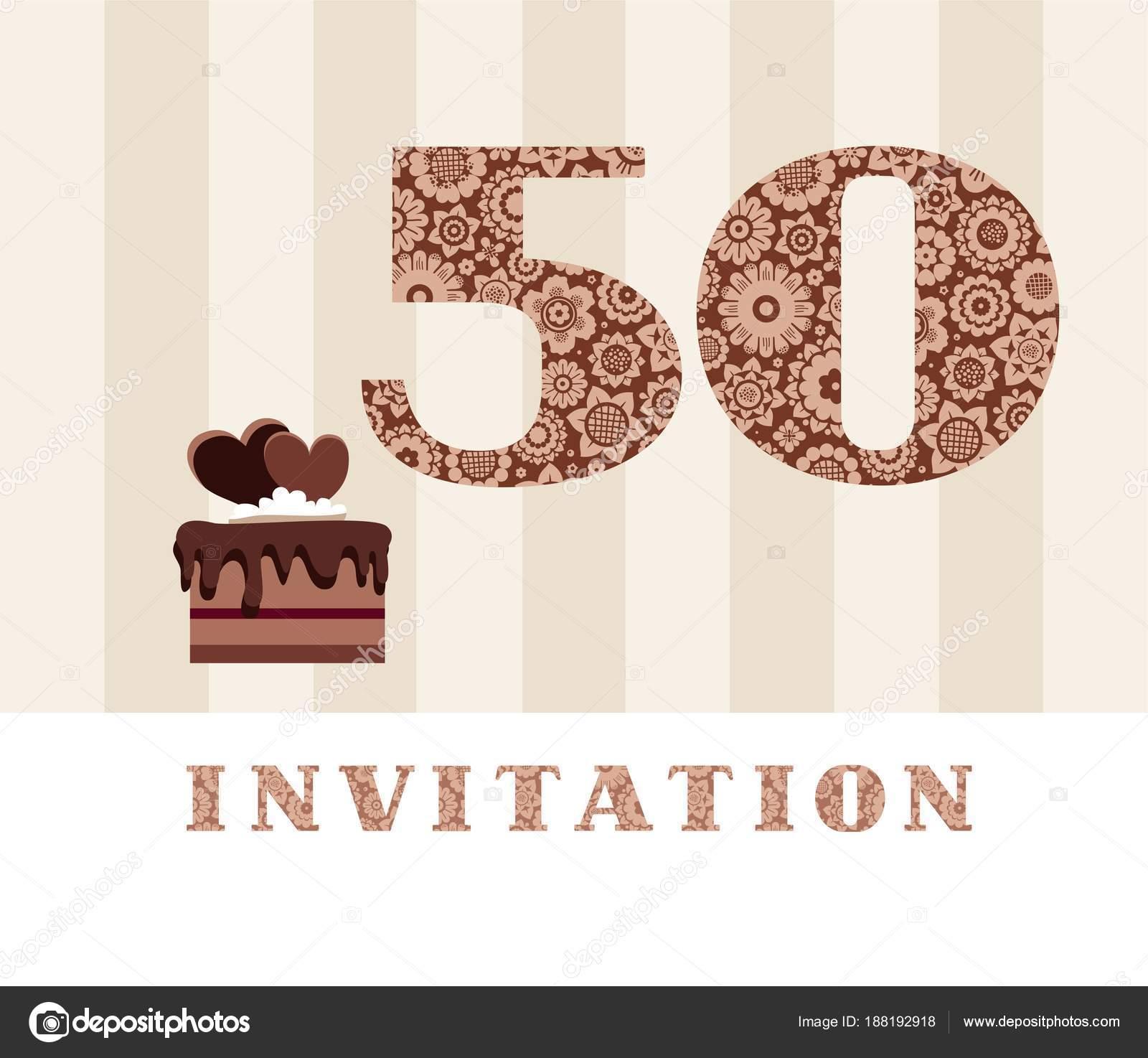 Imágenes Invitacion 50 Anos Invitación Años Edad Pastel