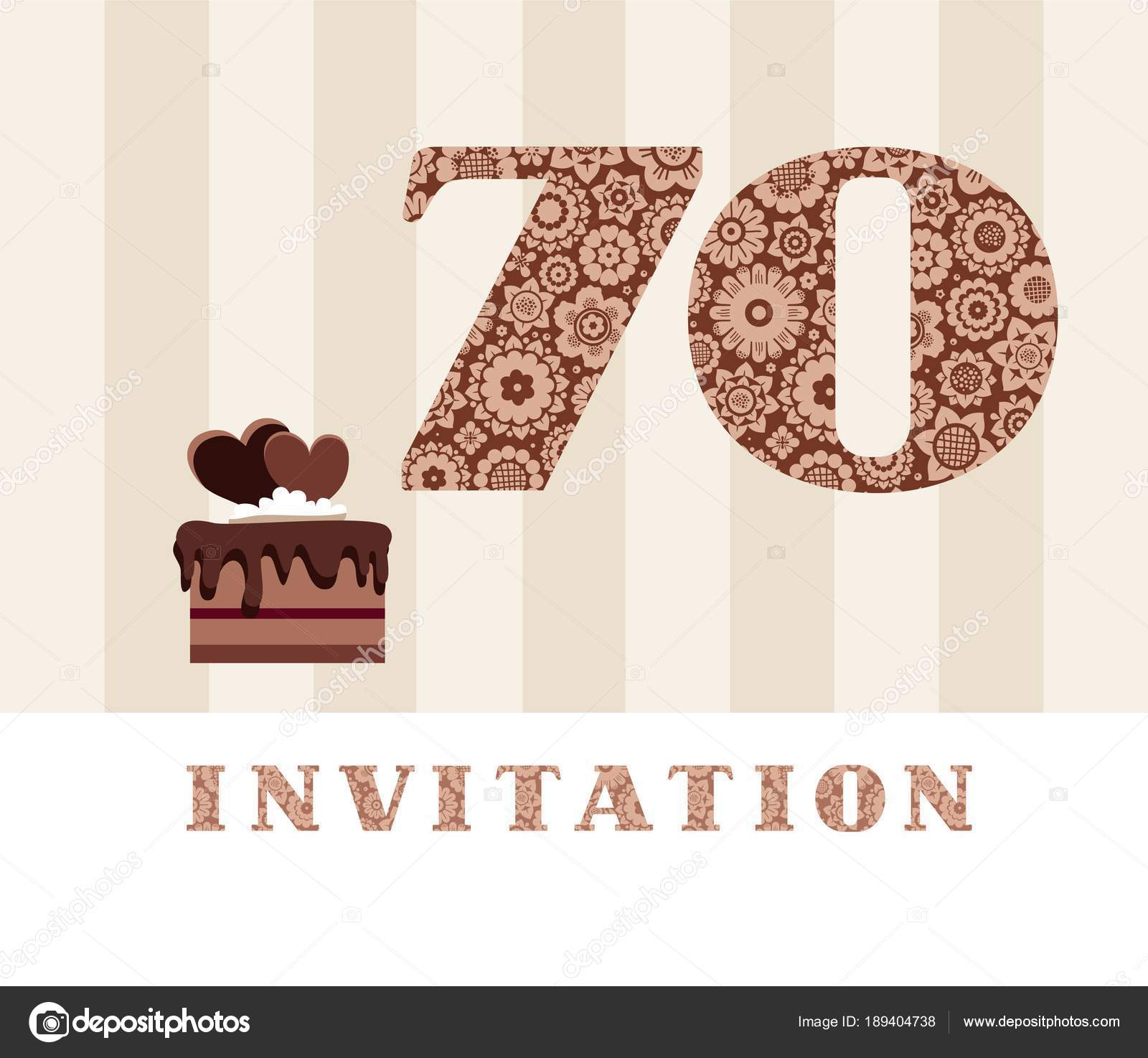 Invitation 70 Years Old Chocolate Cake Heart Vector The To Birthday Party Wedding Anniversary Color Card With Hearts