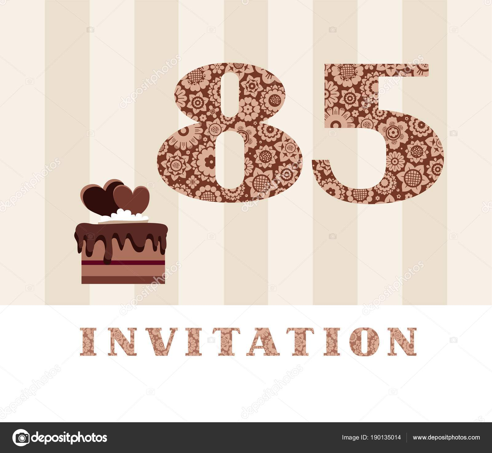 Invitation years old chocolate cake heart vector invitation birthday the invitation to the birthday party color card chocolate cake with hearts english vector by elenavdovina stopboris
