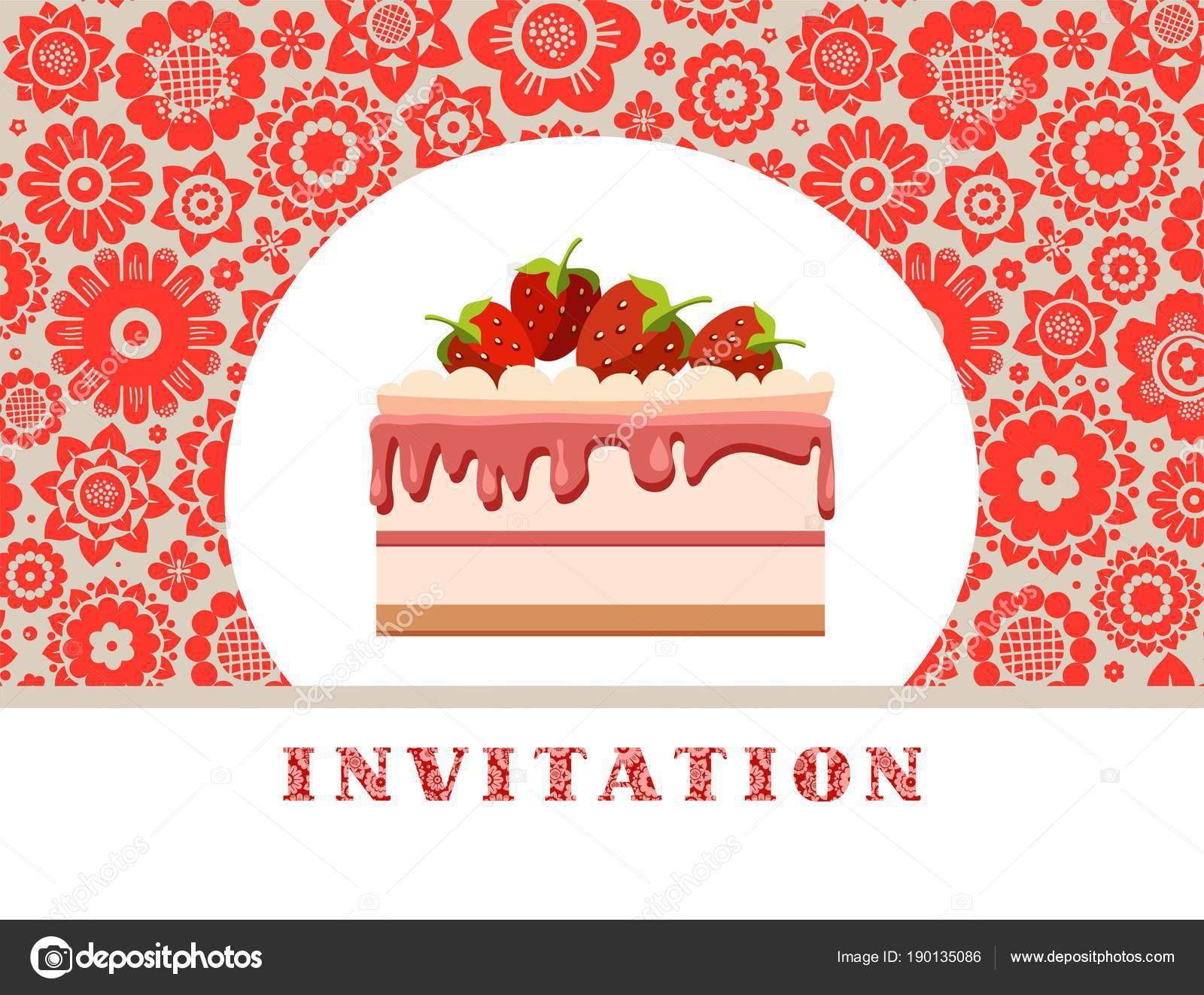 Einladung Erdbeerkuchen Grau Rot Floralen Hintergrund Vektor  Geburtstagseinladung Hochzeit Ein U2014 Stockvektor