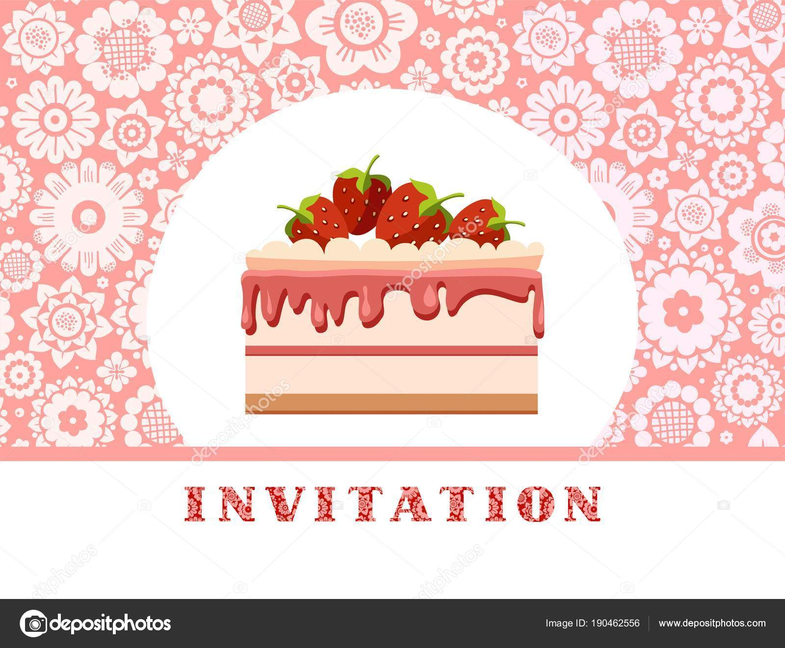 Invitation strawberry cake pink floral background vector birthday invitation strawberry cake pink floral background vector birthday invitation wedding stock vector stopboris Images
