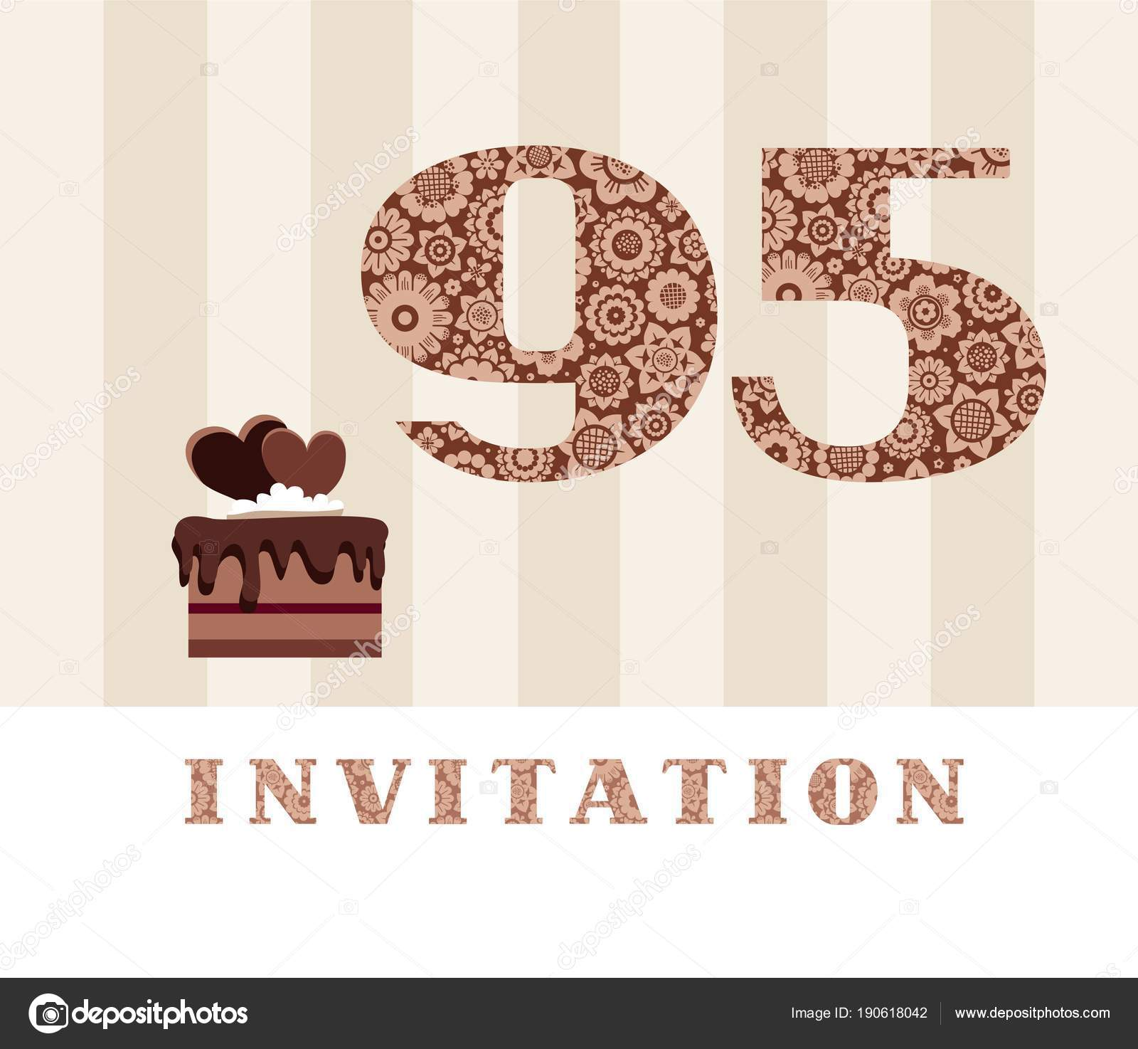 Invitation years old chocolate cake heart vector invitation birthday the invitation to the birthday party color card chocolate cake with hearts english vector by elenavdovina stopboris Image collections