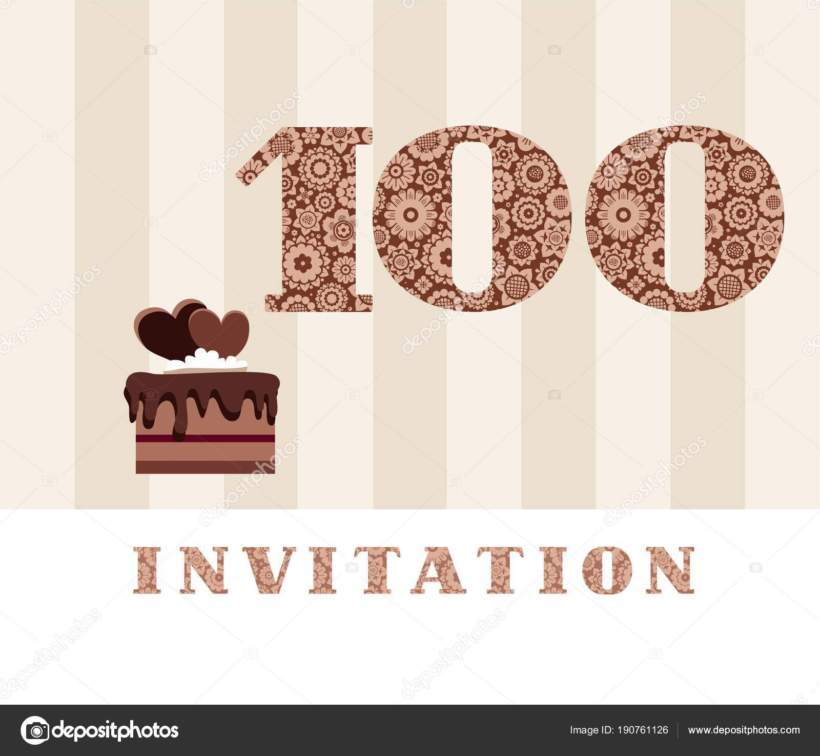 Invitation 100 Years Old Chocolate Cake Heart Vector The To Birthday Party Color Card With Hearts English