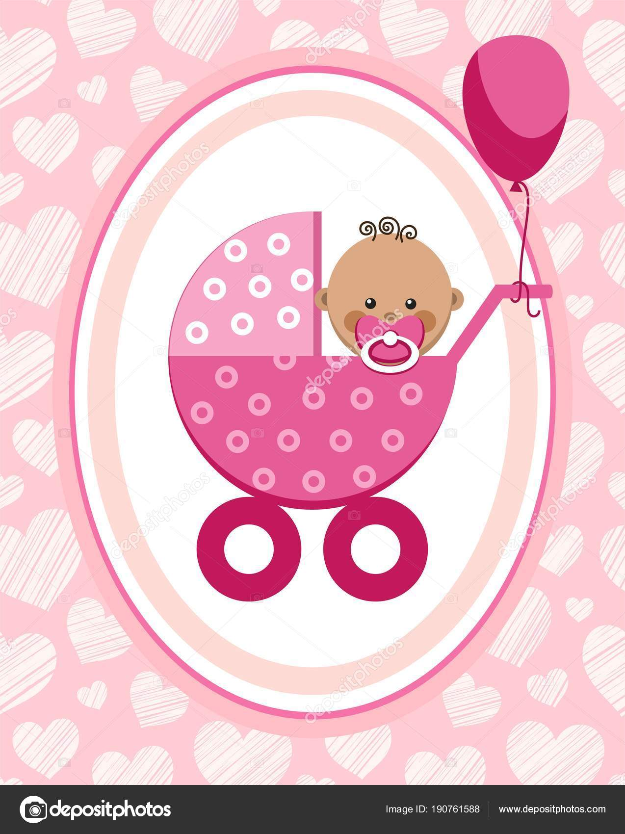 newborn baby girl greeting card africa pink hearts vector a little girl in a pink stroller a pink balloon is tied to the stroller color flat card
