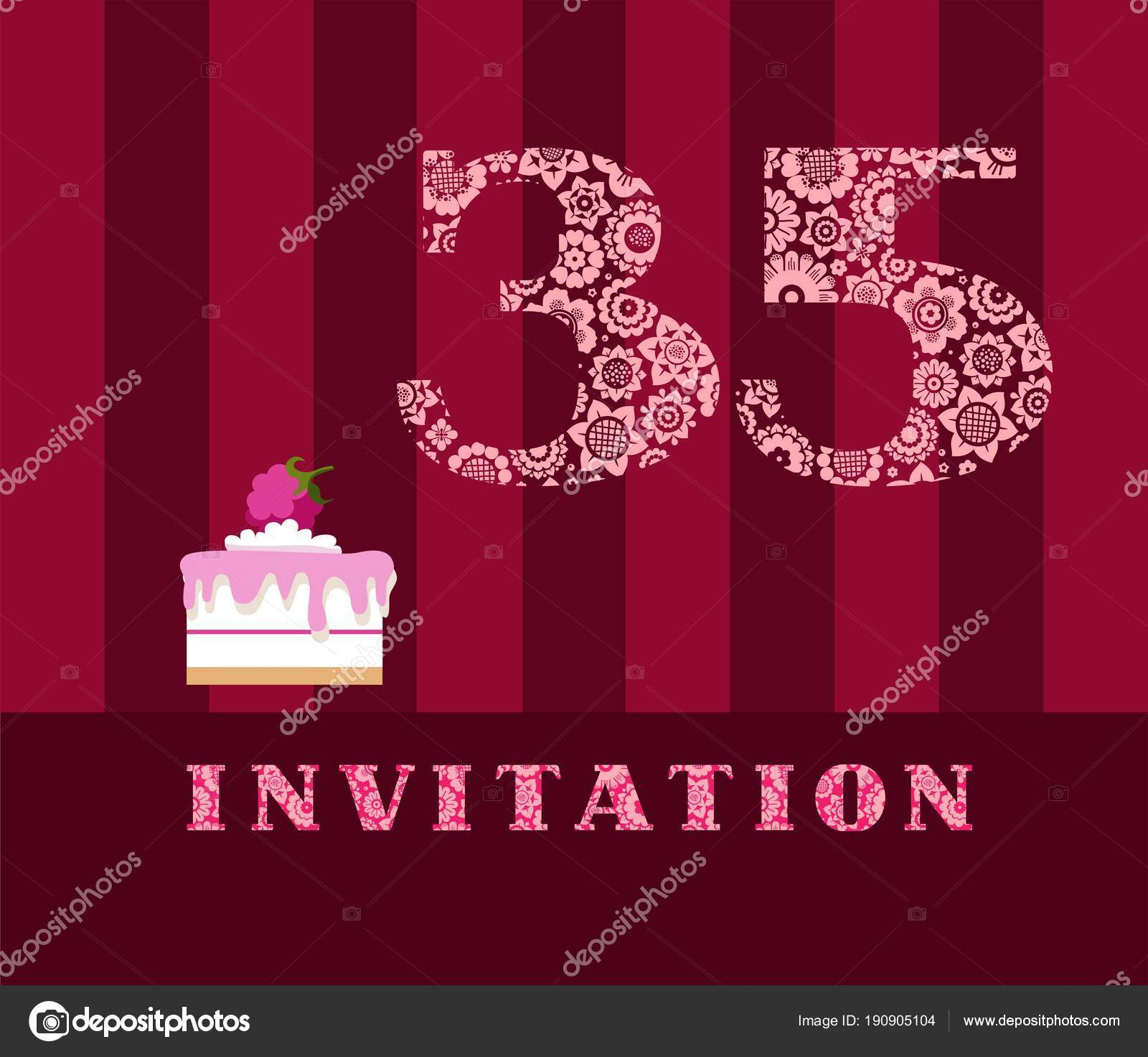 Invitation Years Cake Raspberries Vector English Invitation Birthday ...