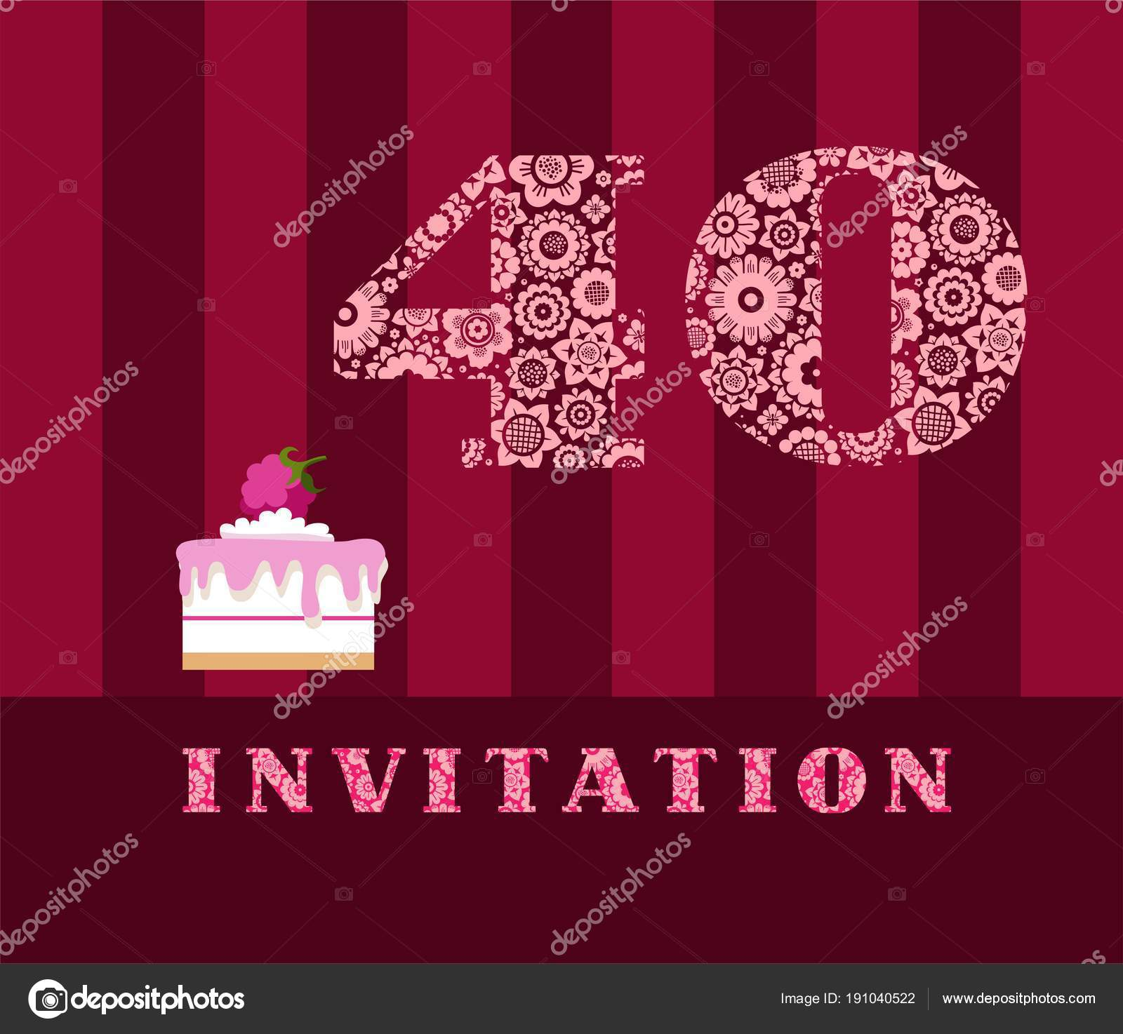 Invitation 40 Years Old Raspberry Pie Vector English The To Birthday Party Wedding Anniversary Color Card Berry Cake With Raspberries