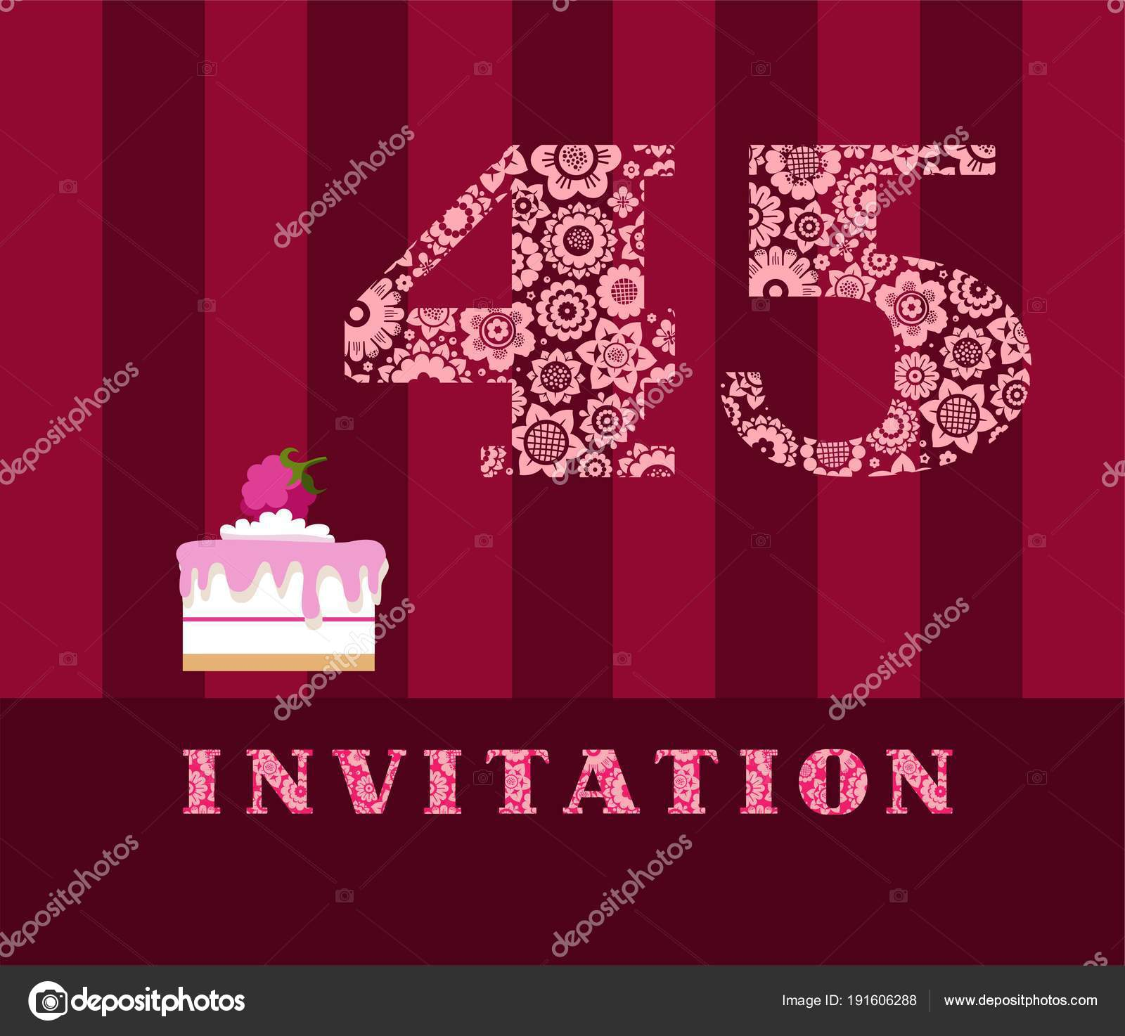 Invitation 45 Years Old Raspberry Pie Vector English The To Birthday Party Wedding Anniversary Color Card Berry Cake With Raspberries