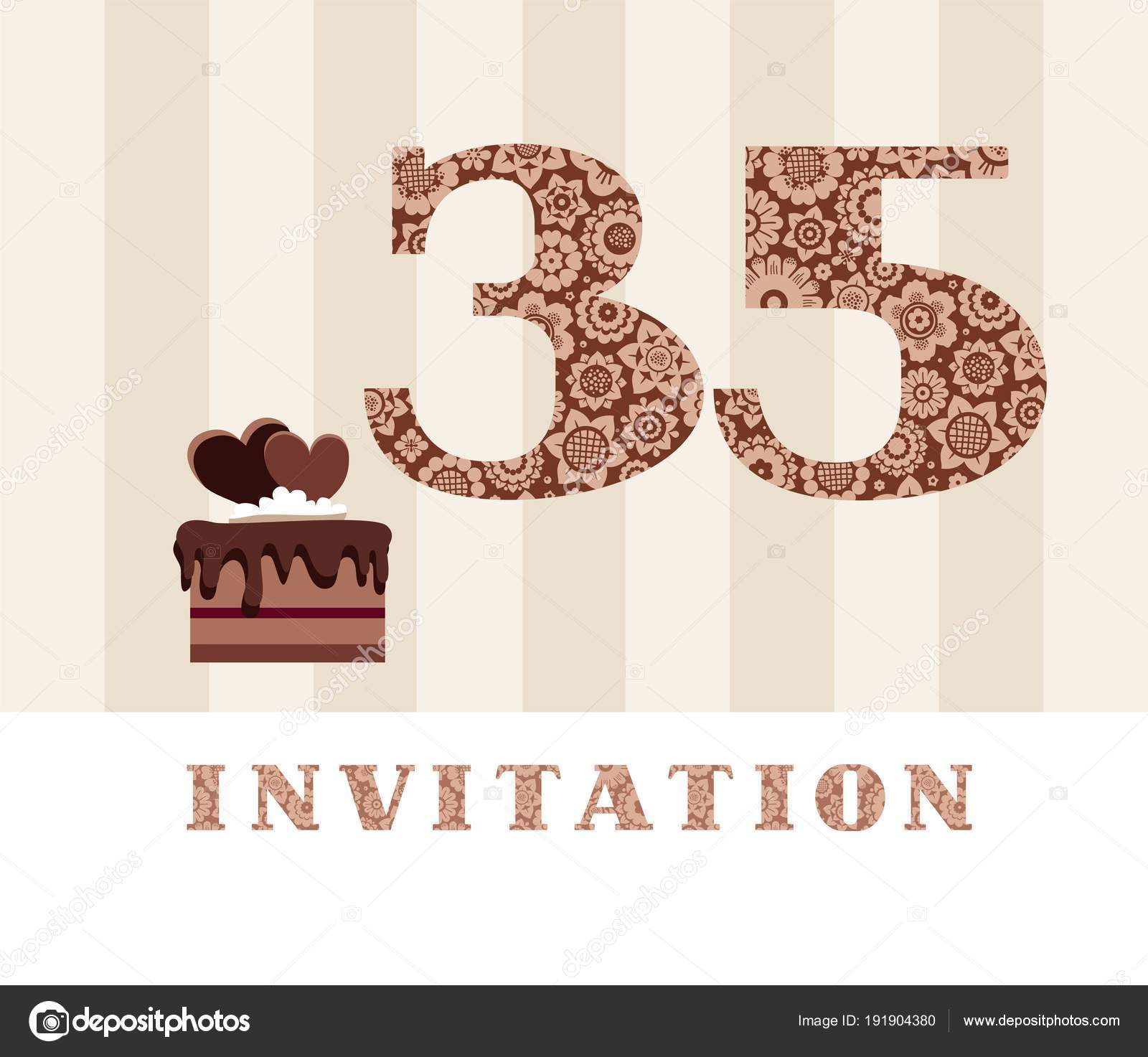 The Invitation 35 Years Old Chocolate Cake Heart Shaped Vector To Birthday Party Color Card With Hearts English