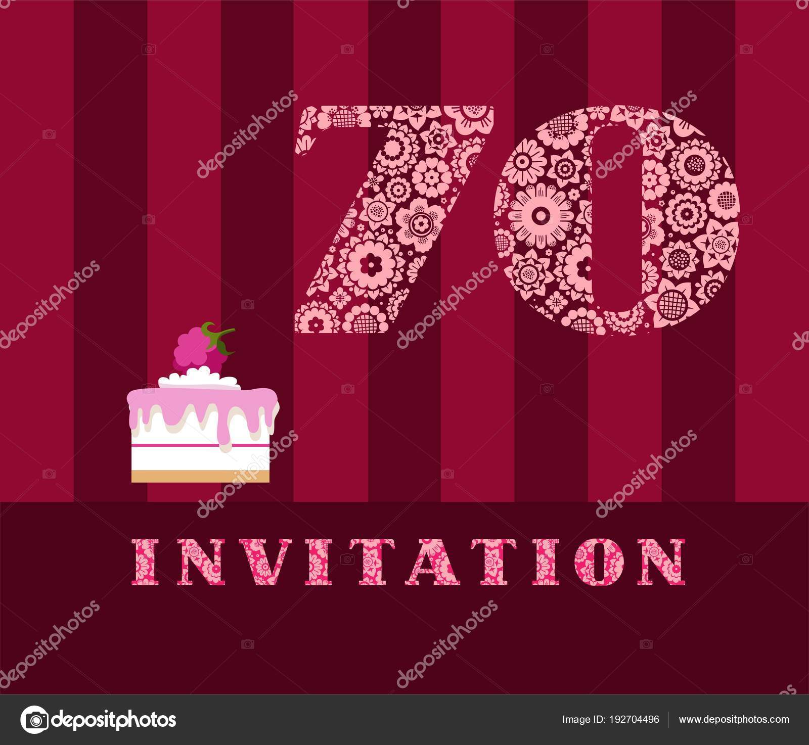 Invitation 70 Years Old Raspberry Pie Vector English The To Birthday Party Wedding Anniversary Color Card Berry Cake With Raspberries