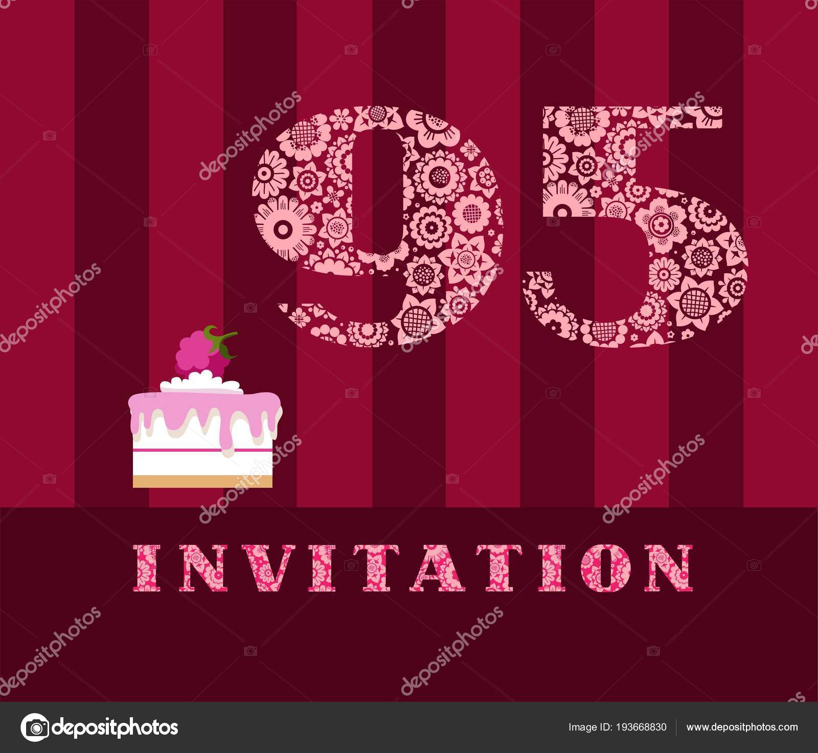 Invitation Years Cake Raspberries Vector English Invitation Birthday ...