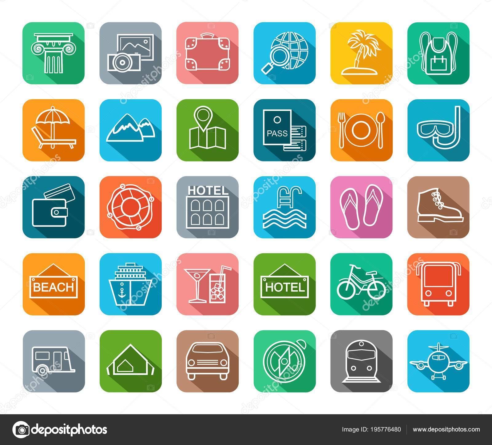 Viaggi vacanze turismo tempo libero icone piatto contorno colorato vettoriale vettoriali stock - Diversi tipi di turismo ...