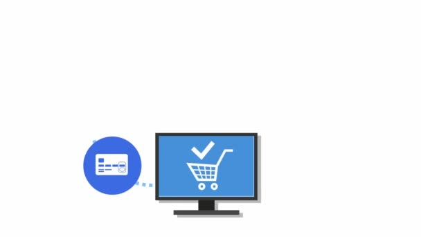Online shopping, payment and delivery, scheme. Shopping through the Internet. Colored icons on a white background.