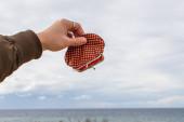 oříznutý pohled na muže držícího prázdnou peněženku u moře