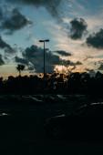 moderní auta na parkování při západu slunce ve večerních hodinách
